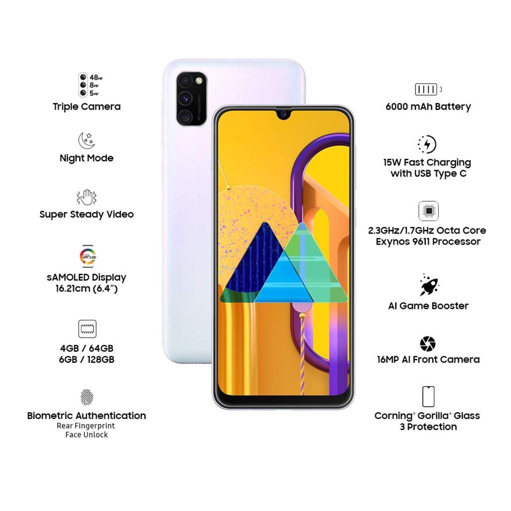 Samsung Galaxy M30s (White, 4GB RAM, 64GB Storage) best gaming phones under 15000 in India