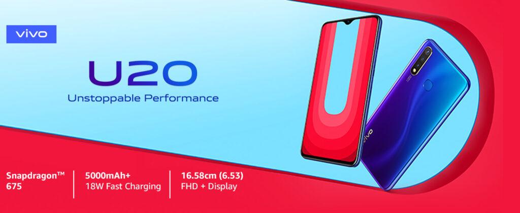 Vivo U20 (Blazing Blue, Snapdragon 675 AIE, 6GB RAM, 64GB memory best gaming phones under 15000 in India
