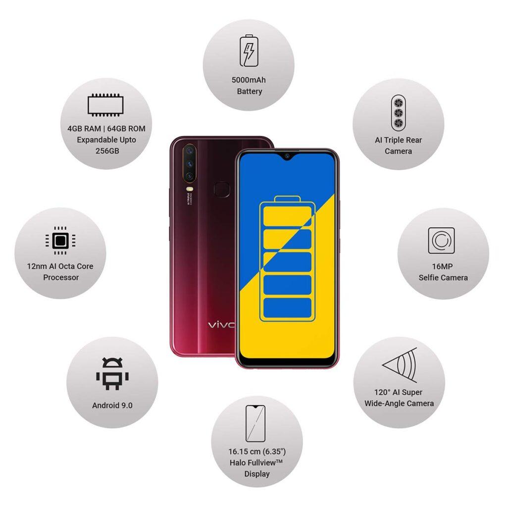 Vivo Y15 (Burgundy Red, 4GB RAM, 64GB Storage) best gaming phones under 15000 in India